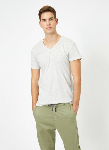 Koton V Yaka %100 Pamuk Slim Fit Basic T-Shirt Gri